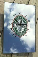 Vintage Heineken Beer Clock Mirror Bar Advertising Sign Made in England