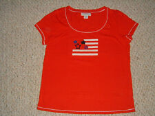 SAG HARBOR Red White Blue FLAG USA T Shirt Top Size L Large EXC COND