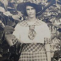Antique CYKO RPPC Girl in Garden Corn & Beans - Real Photo Postcard 1904-1920