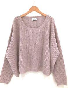 Allude Kaschmir Pullover Oversized Rosa Grau Melange L Ribbed Cashmere Sweater