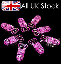 Pack of 10 Plastic dummy clips, dummy chain , strap, pacifier ~ Pink