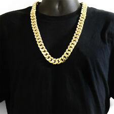 18 mm 30 inch 14K Gold Finish Miami Curb Cuban Heavy Men Hip Hop Chain Necklace