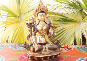 Partly Gold Plated Magical White Tara Statue 8 Inch