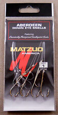 Fishing Hooks 1 Pack Of 6 Size #1 Gold MATZUO America Aberdeen Down Eye Snells