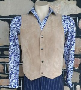 Suede Vest, 1970's, taupe, by 'Silton', USA, size M