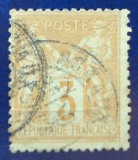 France oblitéré, n°86, 3c bistre-jaune, Sage type 2, 1878