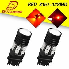2X 3157 3156 High Power Red 12SMD Brake Tail Signal LED Light Bulbs 12V