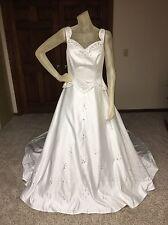 MOONLIGHT Wedding Dress Sz 12 White Beaded Pearl Ballgown