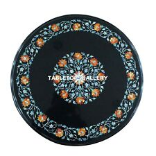 """15""""x15"""" Marble Black Coffee Table Top Collectible Gemstone Inlay Decor H4328"""
