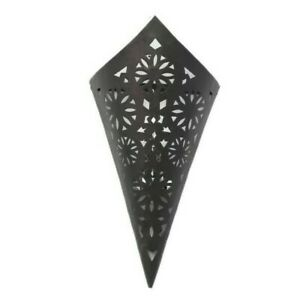 Traditional Moroccan Iron Wall Light - Black Finish - H43 x W21cm - Fast Free PP