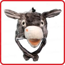 DONKEY MULE ASS HORSE ANIMAL CARTOON PLUSH FLUFFY HOODED HAT CAP BEANIE EARMUFF