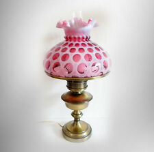 Fenton Lamp With Cranberry Opalescent Coin Dot Shade   FREE SHIPPING