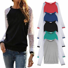 Lace Long Sleeve Crew Neck Tops & Shirts for Women