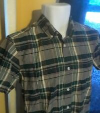 Gap Men's Lived In Button-Front Short Sleeve Green/Gray Plaid Shirt Size S EUC