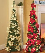 lighted poinsettia red or white pull up christmas tree collapses holiday sparkle - Pull Up Christmas Tree