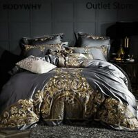 Luxury Satin Egyptian Cotton Bedding Set Royal Embroidery Duvet Cover Bed Linen