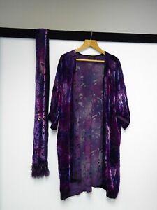 Besarani Collection Kimono Jacket And Scarf Silk Purple Set One Size Y57 A99