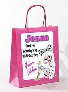 PERSONALISED GIRLS PAPER GIFT BAG BIRTHDAY FAVOUR PARTY SWEET BAGS ANY NAMES