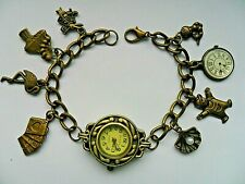 NEW  Handmade Alice in Wonderland Bronze Charm Bracelet Quartz Watch  19.5cm