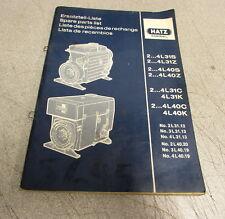 Hatz Diesel 2-4L31S 2-4L31Z 2-4L40S 2-4L40Z 4L31K Engine Spare Parts List Manual