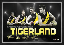 Richmond Tigers Signed AFL Player Print Framed Cotchin Deledio Martin Riewoldt
