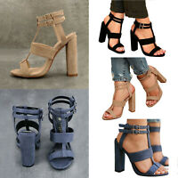 Womens Summer Buckle Ankle Casual Shoes Sandals Block High Heels Strappy Pumps