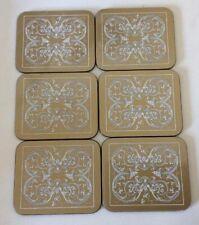 "Set of 6 Elegant Coasters Boxed Gold & Ivory ""Marquetry"" by Jason New Zealand"