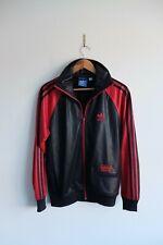 Rare Adidas Chile 62' Tracksuit jacket S Black/Red trefoil Wetlook Glossy Shiny