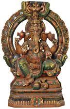 "JAI God Ganesha On Kirtimukha Throne 28""Wood Carved Craft Art Hindu Figure 9.8KG"
