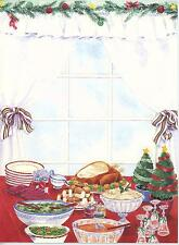 VINTAGE THANKSGIVING CHRISTMAS TURKEY DINNER CHEF COOK CARD INVITATION PRINT