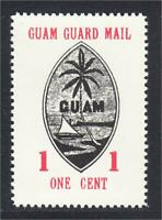 Guam Guard Mail Local Post 1980 50th Anniversary 1 Cent Stamp Black Seal MNH