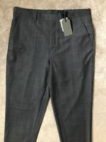 """ALL SAINTS MEN'S GREY """"ANTE"""" WOOL CHECK TROUSERS PANTS - 32"""" - NEW & TAGS"""