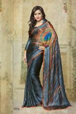 Grey Indian Saree Sari Bollywood Peacock Print Designer Crepe Silk Party Wear