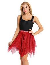 Womens Adult Tulle Latin Ballet Dance Tutu Skirt Glitter Asymmetric Short Dress