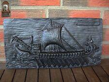 Eisenplatte Trireme Romana Kriegsschiff Wandbild 5 kg Wandplatte 43 x 22 x 2 cm