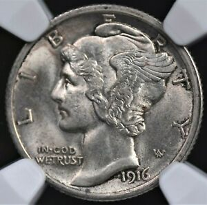 1916 MERCURY DIME NGC MS 63 FULL BANDS SILVERY WHITE CHOICE BU EXCELLENT STRIKE