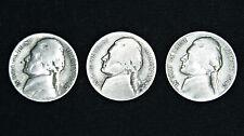 Jefferson War Nickels lot (3) 35% Silver (1942-1945), Average Circulation