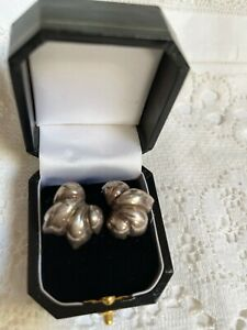 a pair of vintage sterling silver clip on earrings