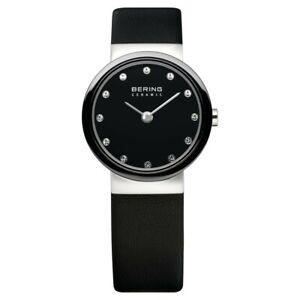 Bering Ladies Watch Wristwatch Slim Ceramic - 10725-854 Black Leather