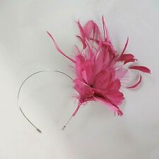Pink Feather Fascinator with Glitter Centre Metal Headband