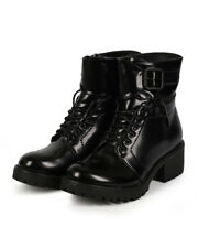 New Women Nature Breeze Law Enforcer-02 Leatherette Cuff Chunky Heel Combat Boot