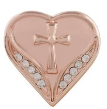 Rose Gold Plated White Rhinestone Heart Cross 20mm Snap Charm For Ginger Snaps