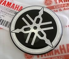 YAMAHA GENUINE 50MM TUNING FORK BLACK/SILVER GEL DECAL STICKER BADGE