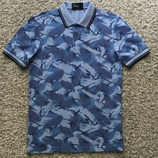 Fred Perry Men Polo Shirt Top Light Blue Floral Print Twins Cotton Slim Fit S