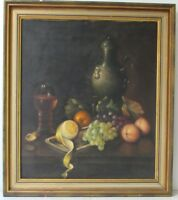GORGEOUS  STILL LIFE  WITH FRUIT  OIL PAINTING  ON CANVAS, GERMAN SCHOOL, SIGNED