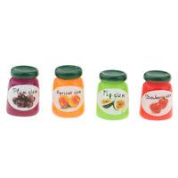 4pcs Miniatur Obst Marmelade Fruchtmarmelade Essen Modell für 1/12 Puppenhaus