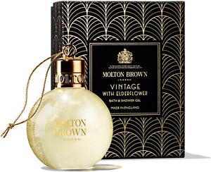 MOLTON BROWN VINTAGE WITH ELDERFLOWER FESTIVE BAUBLE BATH & SHOWER GEL 75ML