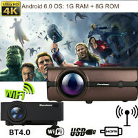 4K 3D WiFi 1080P HD Smart LCD LED Projector Android BT Wireless Home Theater 8GB