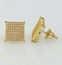 Men 14K Yellow Gold  Lab Diamond Flat Screen Square Screw Back Stud Earrings