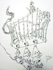 "Dr. Seuss Ink Drawing Zoo Keeper  Original Signed Art Size 9"" X 12"""